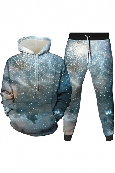 Mens Co-ords Creative 3D Galaxy Planet Pattern Slim Fitted 7/8 Length Tapered Pants Long Sleeve Hoodie Jogger Co-ords