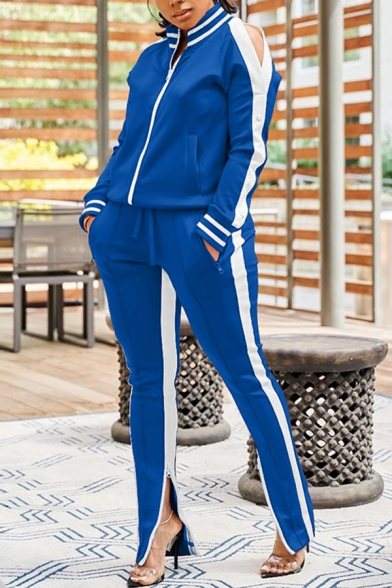 Womens Co-ords Chic Stripe Side Panel Zipper up Long Split-Sleeve Mock Neck Jacket Zipper Vents Full Length Pants Slim Fit Sport Co-ords