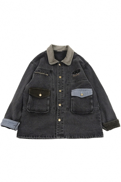 Womens Jacket Trendy Elephant Letter Embroidered Flap Chest Pockets Patchwork Button Detail Long Sleeve Turn-down Collar Loose Fit Denim Jacket
