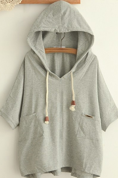 Creative Womens Hoodie Double Pockets Front Drawstring Half Batwing Sleeve Relaxed Fitted Hooded Sweatshirt