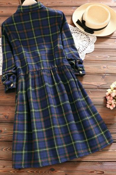 Cute Women's Shirt Dress Plaid Pattern Bear Embroidered Drawstring Waist Button-down Turn-down Collar Long-sleeved Regular Fit Shirt Dress
