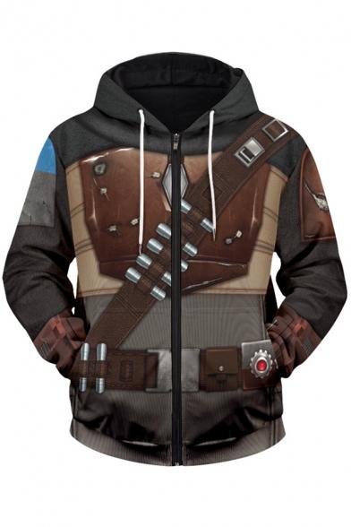 Mens Hoodie Unique Cosplay 3D Mandalorian Drawstring Zipper up Regular Fitted Long Sleeve Hoodie