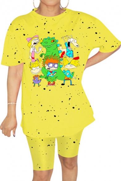 Retro Womens Co-ords Cartoon Figure Dinosaur Splatter Pattern Tie Dye Crew Neck Short Sleeve Tee Regular Fitted Shorts Co-ords