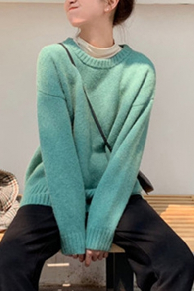 Stylish Women's Co-ords Rib-Knitted Trim Solid Color Round Neck Long-sleeved Regular Fitted Sweater with Ankle-Tied Pants Set