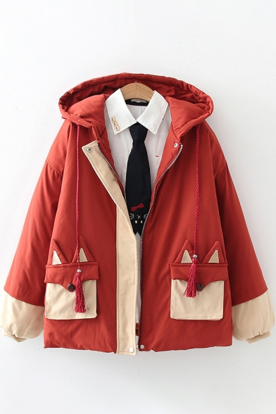 Unique Womens Coat Fox Pattern Contrast Panel Flap Pockets Drawstring Hooded Zip Fly Button Design Long Sleeves Relaxed Fit Down Coat