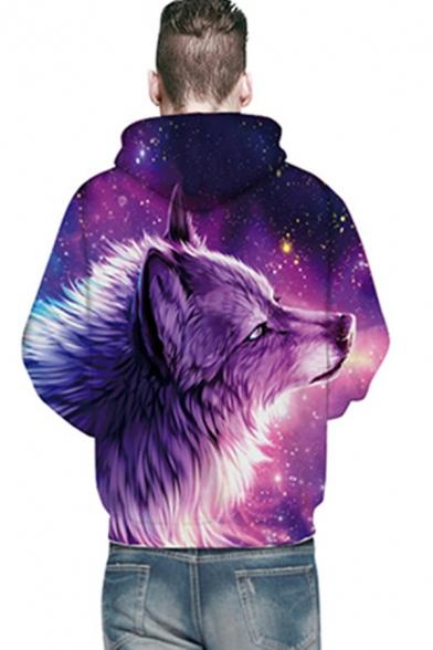 Vintage Mens 3D Hooded Sweatshirt Rainbow Stripe Wolf Galaxy Snake Print Drawstring Regular Fitted Long Sleeve Hoodie