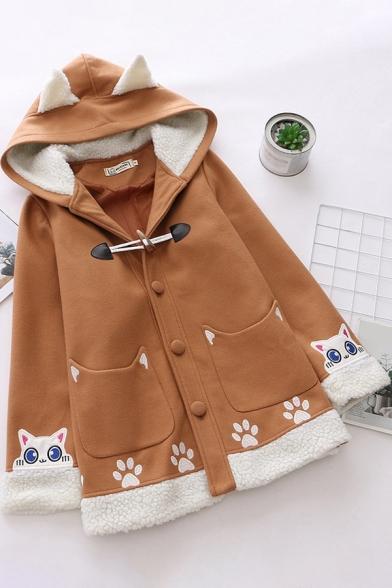 Womens Jacket Unique Cat Paw Pattern Sherpa Patchwork Ear-Hood Button Detail Long Sleeve Loose Fit Woolen Coat