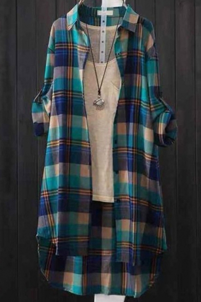 Womens Shirt Fashionable Plaid Pattern Button up Tunic Point Collar Loose Fit Long Sleeve Shirt Jacket