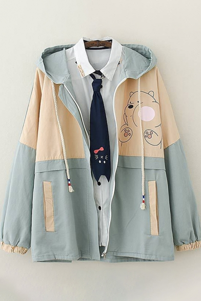 Womens Trench Coat Chic Cartoon Bear Print Color Block Zipper up Hooded Loose Fit Long Sleeve Trench Coat