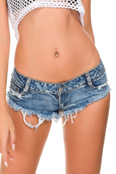 Basic Womens Shorts Denim Frayed Cuffs Slim Fitted Low Waist Short Shorts with Washing Effect