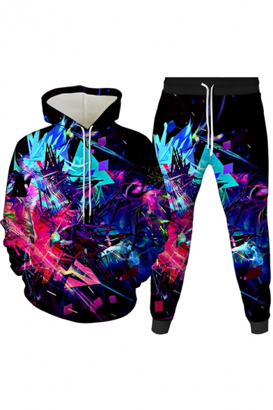 Mens 3D Co-ords Unique Abstract Geometric Pattern Long Sleeve Hoodie Ankle Length Tapered Pants Slim Fit Jogger Co-ords
