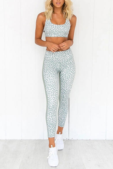 Novelty Womens Co-ords Oval Dot Pattern Sleeveless Scoop Neck Cropped Tank Top Skinny Fitted Side Panel Leggings Yoga Co-ords