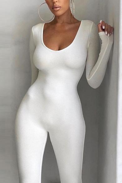 Stylish Women's Jumper Solid Color off the Shoulder Long Sleeves Slim Fitted Jumper