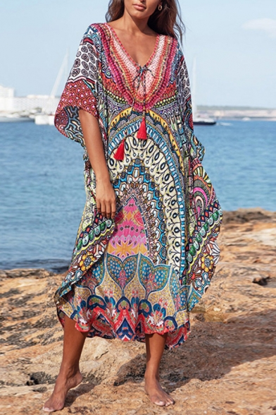 Tribal Style Women's Dress All over Floral Printed Contrast Panel Drawstring Tassel Batwing Sleeves V Neck Maxi Dress