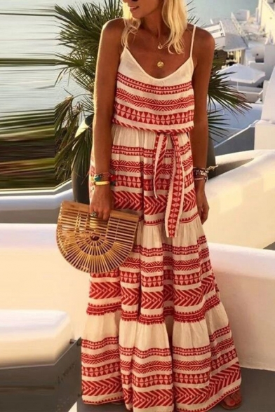 Vintage Style Slip Dress Tribal Print Tie Front Scoop Neck Sleeveless Maxi Slip Dress for Women