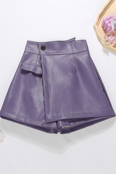 Vintage Womens Shorts Solid Color Asymmetric Panel PU Leather Invisible Zipper Detail High Rise Regular Fitted A-Line Skorts