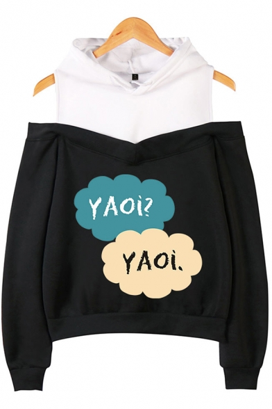 Womens Hooded Sweatshirt Unique Heart Letter Yaoi Print Color Block Cold Shoulder Long Sleeve Relaxed Fitted Hooded Sweatshirt