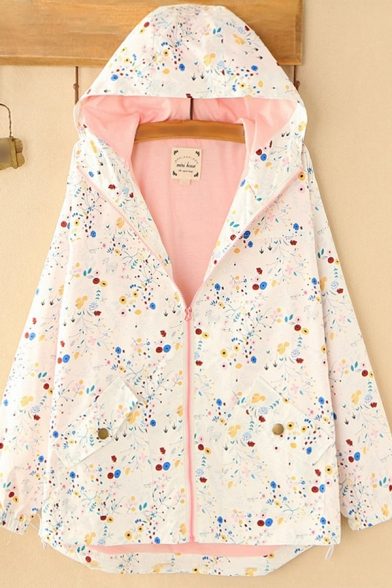 Womens Trench Coat Fashionable Doodle Floral Vine Print Contrast Lined Zipper Detail Long Sleeve Hooded Loose Fit Trench Coat