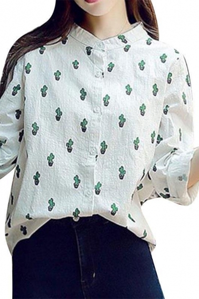 Cactus Printed Stand Collar Long Sleeve Button Front Leisure Shirt