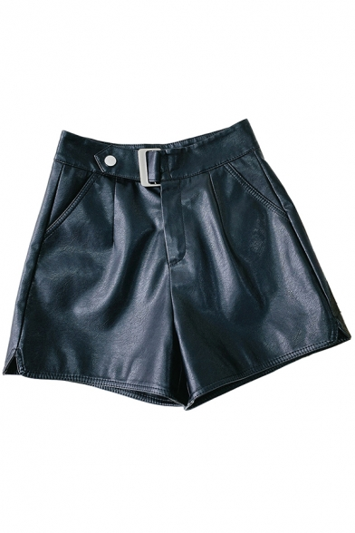 Classic Womens Shorts Metal-Buckle Detail Split Hem Sewing Dart High Rise Regular Fitted Wide Leg PU Shorts