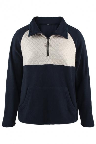 Fancy Sweatshirt Kangaroo Pocket Patchwork 1/4 Zip Collar Detail Stand Collar Long Sleeves Regular Fit Sweatshirt for Women