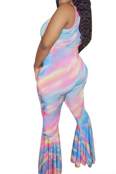 Fancy Women's Jumpsuit Tie Dye Printed Scoop Neck Sleeveless Flare Cuffs Slim Fitted Jumpsuit