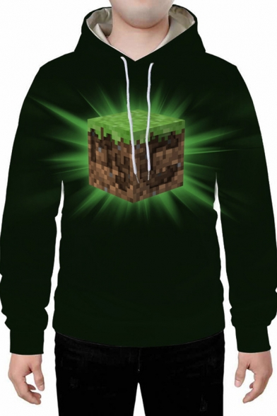 Mens 3D Hooded Sweatshirt Simple House Castle Figure Bow Snowman Tree Letter Minecraft Pattern Drawstring Regular Fitted Long Sleeve Graphic Hoodie