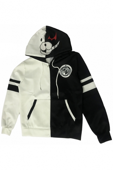 New Trendy Guys Long Sleeve Drawstring Zip Up Stripe Logo Print Colorblock Relaxed Fit Cosplay Hoodie in Black and White