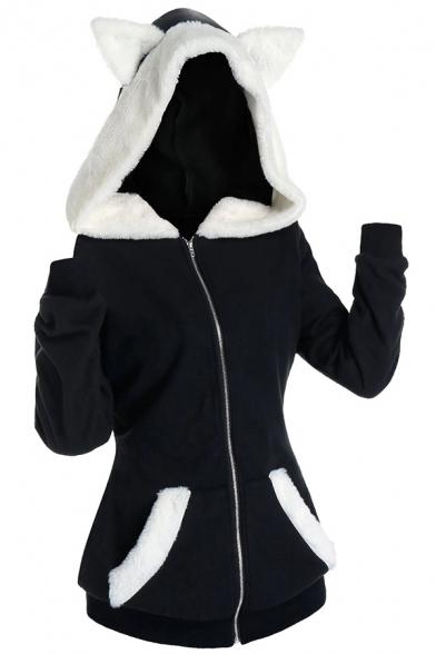 Vintage Womens Hoodie Color Block Panel Fluffy Cat Ear Zipper up Slim Fitted Long Sleeve Hoodie