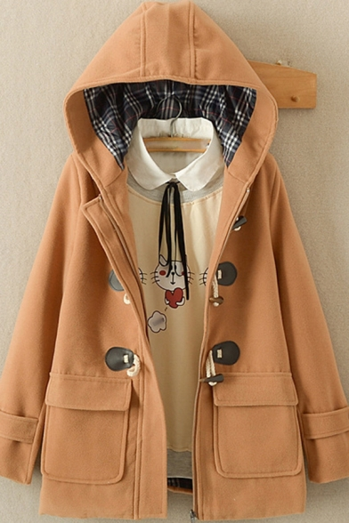 Womens Coat Trendy Plaid-Lined Double Flap Pockets Front Toggle-Button Detail Loose Fit Long Sleeve Hooded Woolen Coat