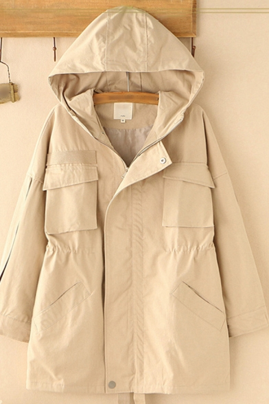 Basic Womens Trench Coat Solid Color Flap Chest Pockets Waist-Controlled Zipper down Loose Fit Long Sleeve Hooded Trench Coat