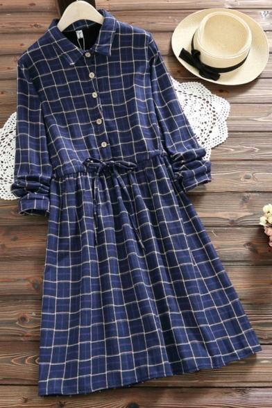 Fancy Women's Shirt Dress Drawstring Waist Button Design Plaid Print Turn-down Collar Long Sleeves Regular Fit Shirt Dress