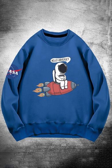 Mens Sweatshirt Stylish Astronaut NASA Logo Rocket Letter Hello Universe Pattern Long Sleeve Relaxed Fit Crew Neck Pullover Sweatshirt