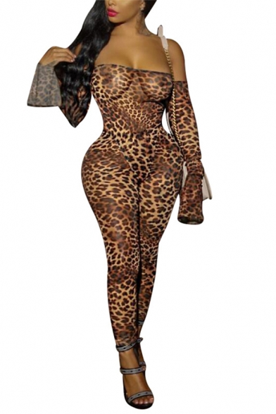 Sexy Fashion Orange Tiger Printed Long Sleeve Off Shoulder Bodysuit with Skinny Pants Co-ords
