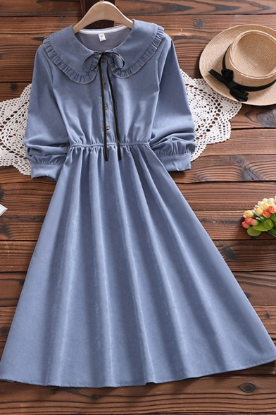 Casual Shirt Dress Solid Color Tie Button Detail Elastic Waist Ruffles Peter Pan Collar Long Sleeves Regular Fit Midi Shirt Dress for Women