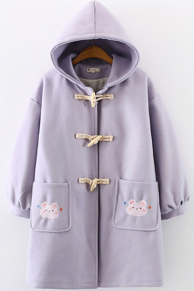 Unique Women's Coat Horn Button Cartoon Mouse Embroidered Banded Cuffs Hooded Long-sleeved Relaxed Fit Coat