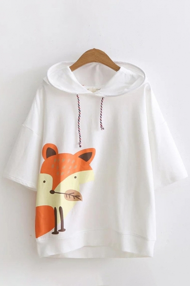Unique Womens Hoodie Fox Cartoon Pattern Colorful Drawstring Half Sleeves Relaxed Fit Hooded Sweatshirt