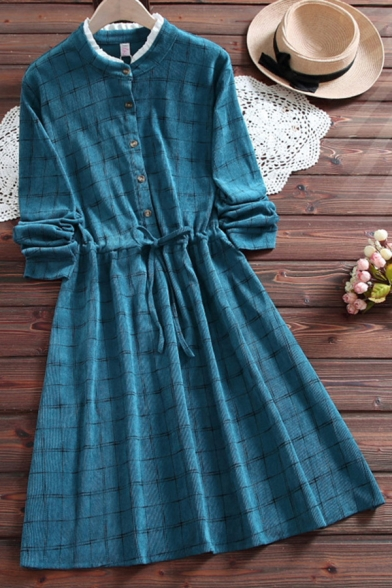 Vintage Women's Blouse Dress Plaid Pattern Drawstring Waist Ruffle Hem Button Design Stand Collar Long-sleeved Regular Fit Midi Blouse Dress