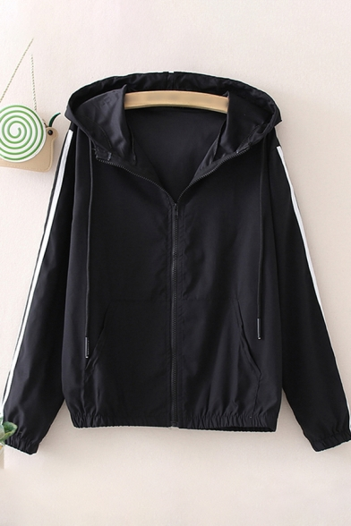 Womens Jacket Casual Stripe Tape Side Kangaroo Pocket Drawstring Zipper Detail Long Sleeve Hooded Loose Fit Sun-Protective Jacket