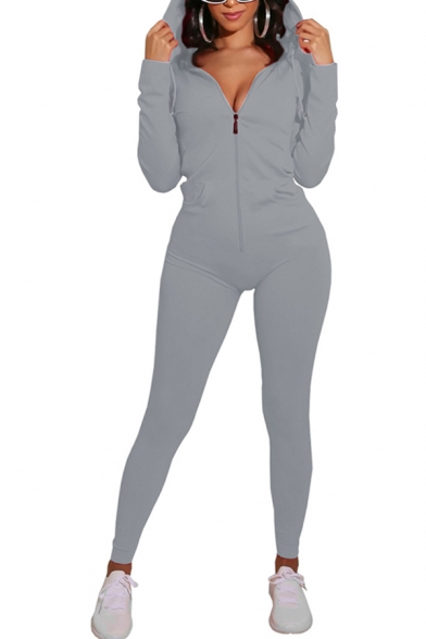 Classic Womens Jumpsuit Plain Zipper Front Hooded Slim Fitted Long Sleeve Jumpsuit