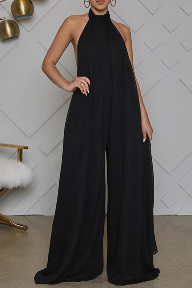 Fancy Women's Jumpsuit Pleated Detail Halter Neck Backless Solid Color Relaxed Fit Jumpsuit