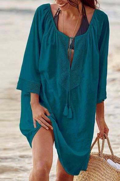 Leisure Women's Swing Dress Solid Color Pleated Lace Trims Tassel Tie Front Keyhole Neck Mid Half Sleeves Swing Dress