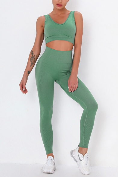 Leisure Women's Yoga Set Solid Color Contrast Rib Panel Scoop Neck Sleeveless Slim Fitted Tank Top with High Waist Long Skinny Pants Yoga Co-ords