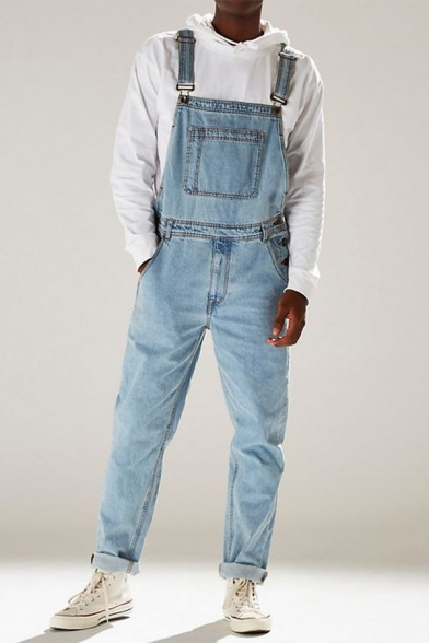 New Stylish Dark Blue High Waist Regular-Fitted Denim Bib Overalls Jumpsuits