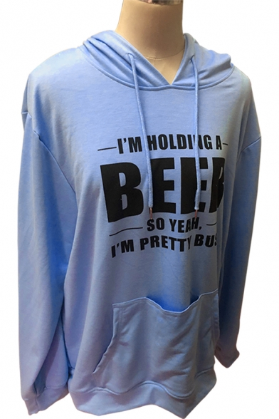 Unique BEER Letter Printed Pouch Pocket Loose Drawstring Hoodie for Women