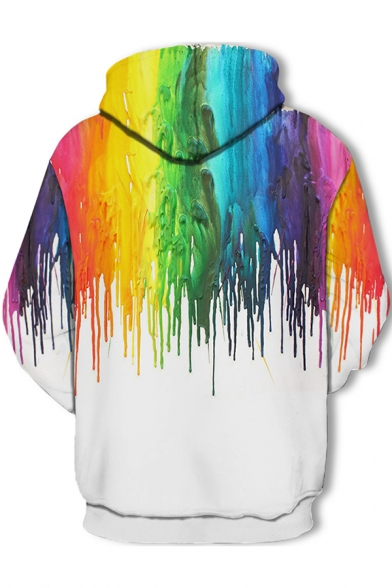 3D Colorful Splatter Paint Printed Long Sleeve Drawstring Hoodie with Pocket