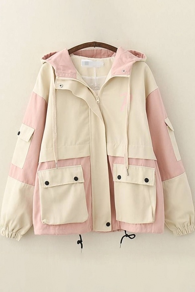 Classic Womens Trench Coat Color Block Panel Letter P Pattern Flap Pockets Drawstring-Hem Zipper up Hooded Loose Fit Long Sleeve Trench Coat
