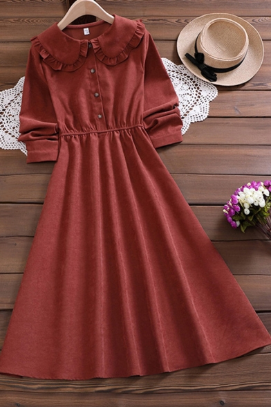 Leisure Women's Shirt Dress Solid Color Button Design Elastic Waist Peter Pan Collar Long-sleeved Regular Fitted Shirt Dress
