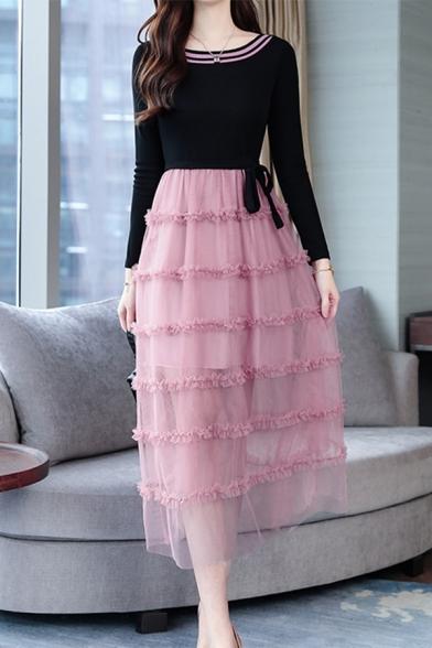New Stylish Long Sleeve Tied Waist Mesh Maxi A-Line Dress