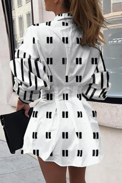 Retro Women's Shirt Dress Chain Print Waist Banded Contrast Stripe Button-down Spread Collar Long Sleeves Regular Fitted Short Shirt Dress